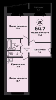 Краузе, 509, 3-комнатная квартира