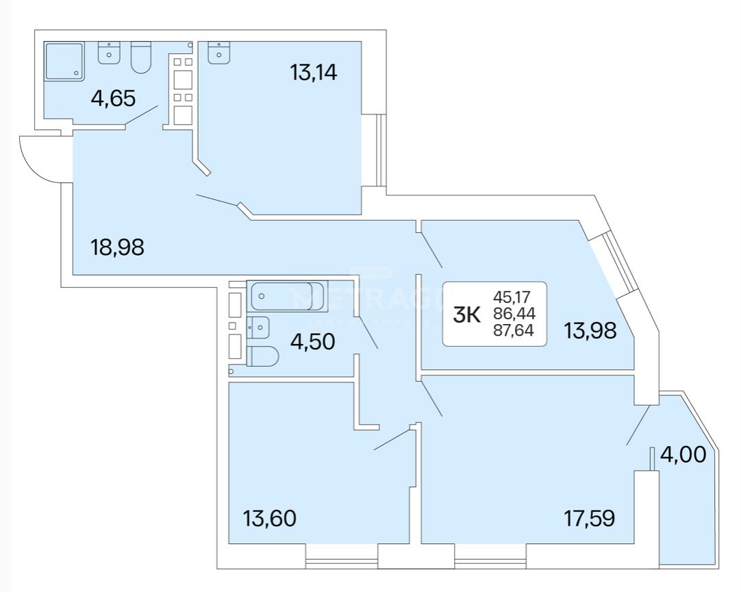 Новосибирск, Немировича-Данченко, 167/1, 3-комнатная квартира