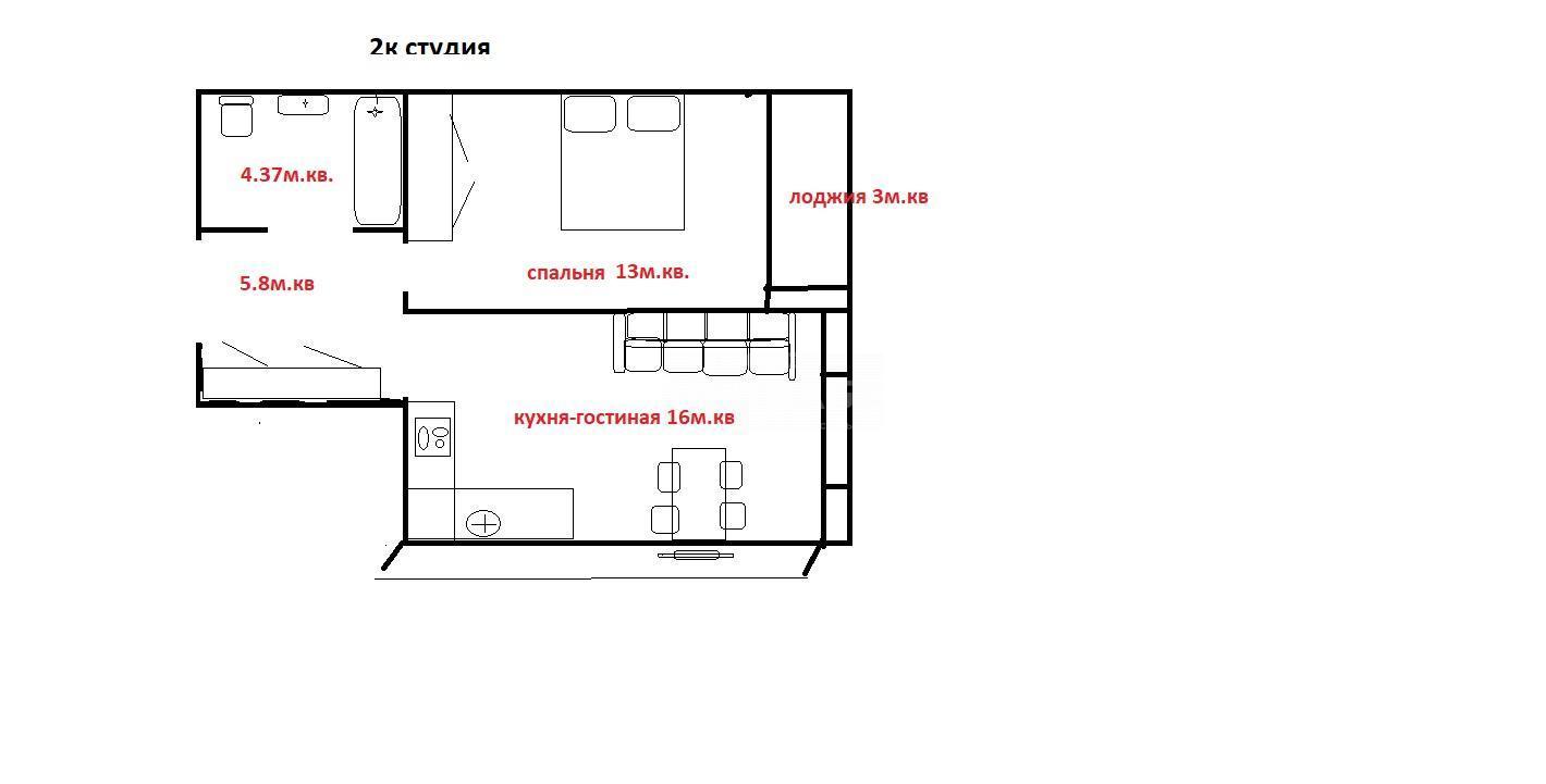 Тополевая, 7стр, 2-комнатная квартира