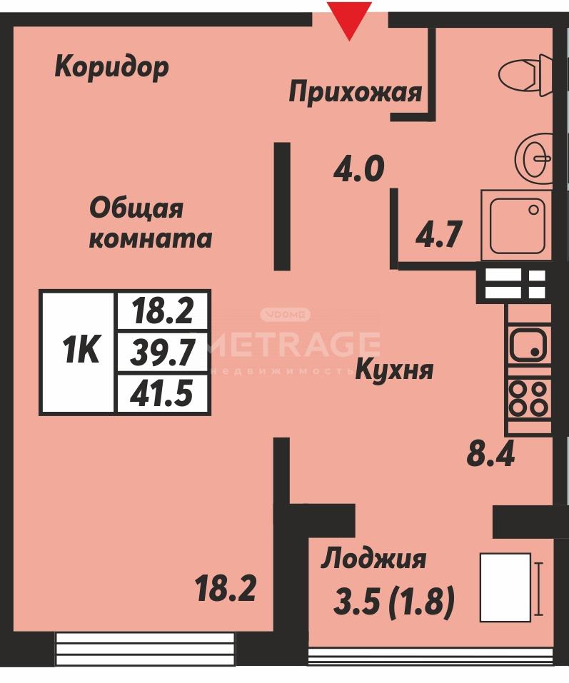 Николая Островского, 195к1, 1-комнатная квартира