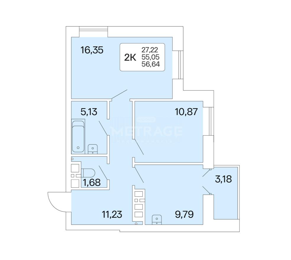 Новосибирск, Немировича-Данченко, 167/1, 2-комнатная квартира